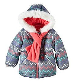London Fog® Girls' 4-6X Chevron Heart Puffer Jacket