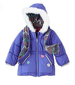 London Fog® Girls' 4-6X Purple Clash Patched Puffer