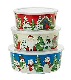 Living Quarters Set Of Three Snowman Bowls