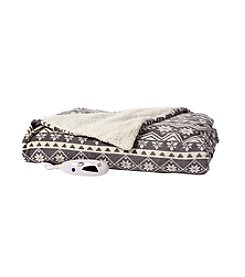 Living Quarters Fair Isle Print Electric Heated Sherpa Throw
