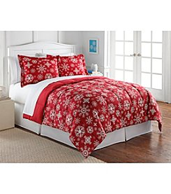 Living Quarters Red Snowflake Reversible Microfiber Down-Alternative Comforter