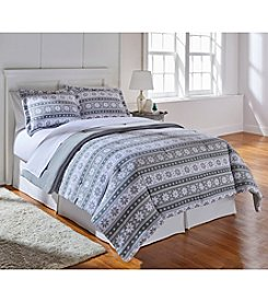 Living Quarters Gray Fair Isle Patterned Micro Cozy Comforter