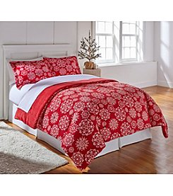 Living Quarters Micro Cozy Red Snowflake Comforter
