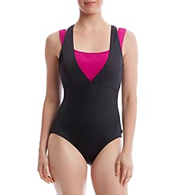 Reebok® Layered One-Piece Swimsuit
