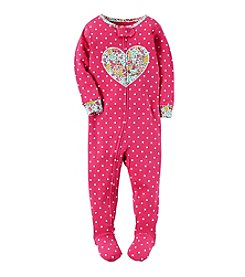 Carter's® Girls' 12 Months-5T Dot Heart One Piece Cotton Pajamas