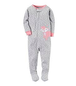 Carter's® Girls' 12 Months-5T Girly Floral Fox Print One Piece Cotton Pajamas
