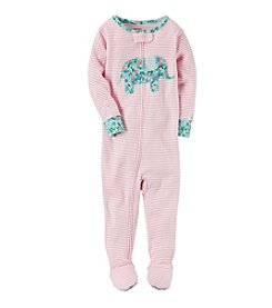 Carter's® Girls' 12 Months-5T One Piece Elephant Striped Pajamas