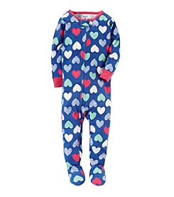 Carter's® Girls' 12 Months-5T Multi Heart Print One Piece Cotton Pajamas