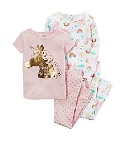 Carter's® Girls' 12 Months-12 4 Piece Unicorn Pajama And Rainbow PJ Set