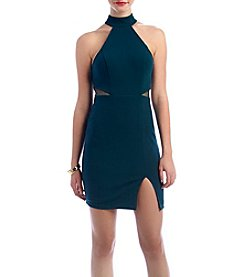 My Michelle® Choker Neck Illusion Side Cutout Dress