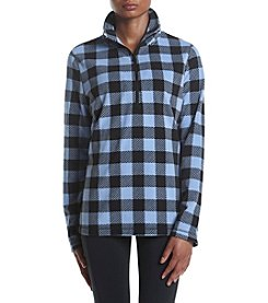 Exertek® Quarter Zip Plaid Fleece Top