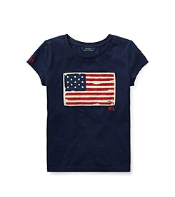 Polo Ralph Lauren® Girls' 2T-16 Washed Cotton Graphic Tee
