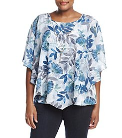Alfred Dunner® Plus Size Scattered Leaves Overlay Top