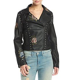 Hippie Laundry Embroidered Studded Moto Jacket
