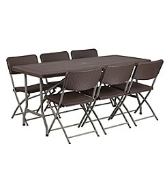 Flash Furniture Rattan Plastic Folding Table Set with 6 Chairs