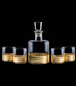 Fitz and Floyd® Daphne Gold 5-Piece Whiskey Decanter and Glasses Set