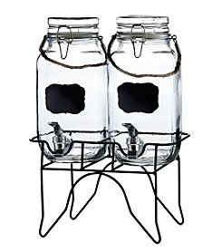 Style Setter Newcastle Set of 2 Beverage Dispensers with Stand and Rope Handles