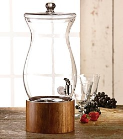 Style Setter Glass Beverage Dispenser with Wooden Stand