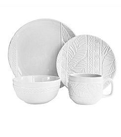 American Atelier Palm Leaf White 16-pc. Dinnerware Set