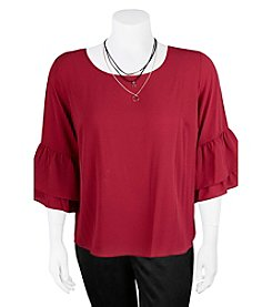 A. Byer Plus Size Tier Ruffle Sleeve Top