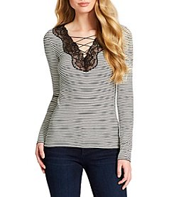 Jessica Simpson Yvetta Striped Lace-Up Top