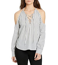 William Rast® Cyrus Cold Shoulder Lace-Up Stripe Top