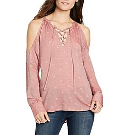 William Rast® Cyrus Cold Shoulder Lace-Up Print Top
