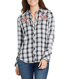 William Rast® Mercer Plaid Embroidered Top