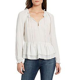 William Rast® Aimee Peplum Peasant Solid Top