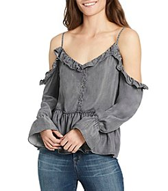 William Rast® Wolfe Cold Shoulder Ruffle Peasant Top