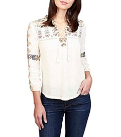 Lucky Brand® Embroidered Lace Up Top