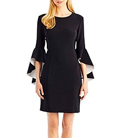Nicole Miller New York Two Tone Ruffle Bell Sleeve Dress