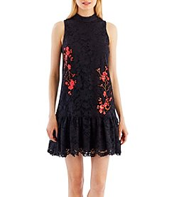 Nicole Miller New York™ Mock Neck A-Line Dress