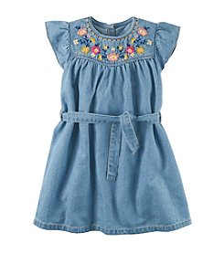 Carter's® Girls' 2T-8 Embroidered Yoke Denim Dress