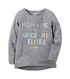 Carter's Girls' 2T-8 Long Sleeve Awesome Selfies Graphic Tee