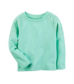 Carter's® Girls' 2T-8 Long Sleeve Lace Shoulder Tee