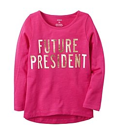 Carter's® Girls' 2T-8 Long Sleeve Future President Graphic Tee