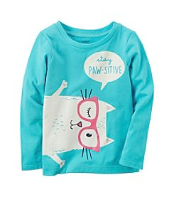 Carter's® Girls' 2T-8 Long Sleeve Stay Paw-Sitive Graphic Tee