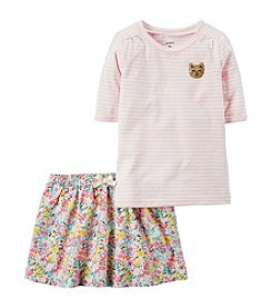 Carter's® Girls' 2T-8 2 Piece Striped Top And Floral Skirt Set