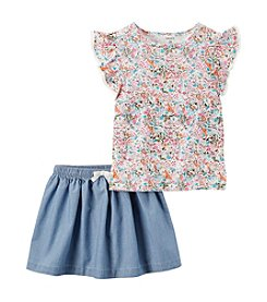 Carter's® Girls' 2T-6X 2 Piece Floral Top And Chambray Skirt Set