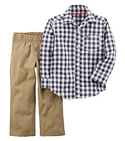 Carter's® Baby Boys 2 Piece Checkered Button Front Canvas Pants Set