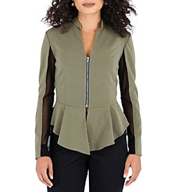 Poetic Justice® Peplum Mesh Trim Jacket
