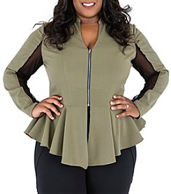 Poetic Justice® Plus Size Peplum Mesh Trim Jacket