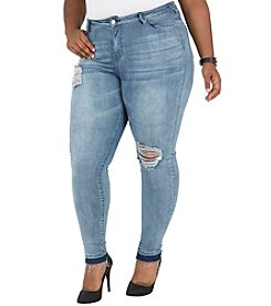 Poetic Justice® Plus Size Corrine Curvy Fit Distressed Jeans