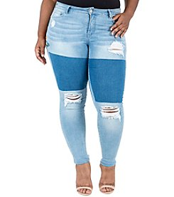 Poetic Justice® Plus Size Madison Embroidered Patch Jeans
