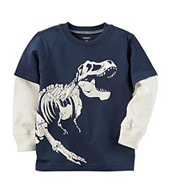 Carter's® Boys' 2T-8 Layered Look Glow-In-The-Dark Dinosaur Graphic Tee