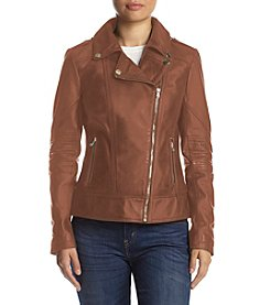 GUESS Zip Front Leather Jacket