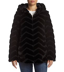 Gallery® Chevron Faux Mink Hooded Coat