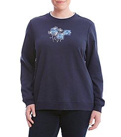 Breckenridge® Plus Size Blue Dandelions Fleece Sweater