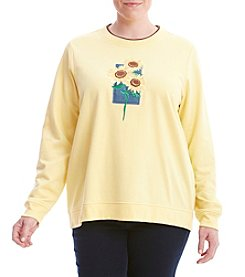 Breckenridge® Plus Size Sunny Sunflowers Fleece Sweater